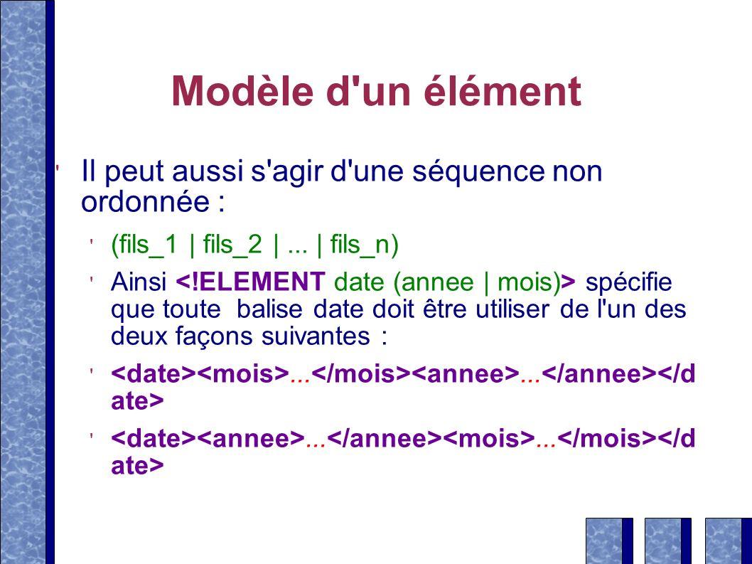 Modèle d'un élément Il peut aussi s'agir d'une séquence non ordonnée : (fils_1 | fils_2 |... | fils_n) Ainsi spécifie que toute balise date doit être