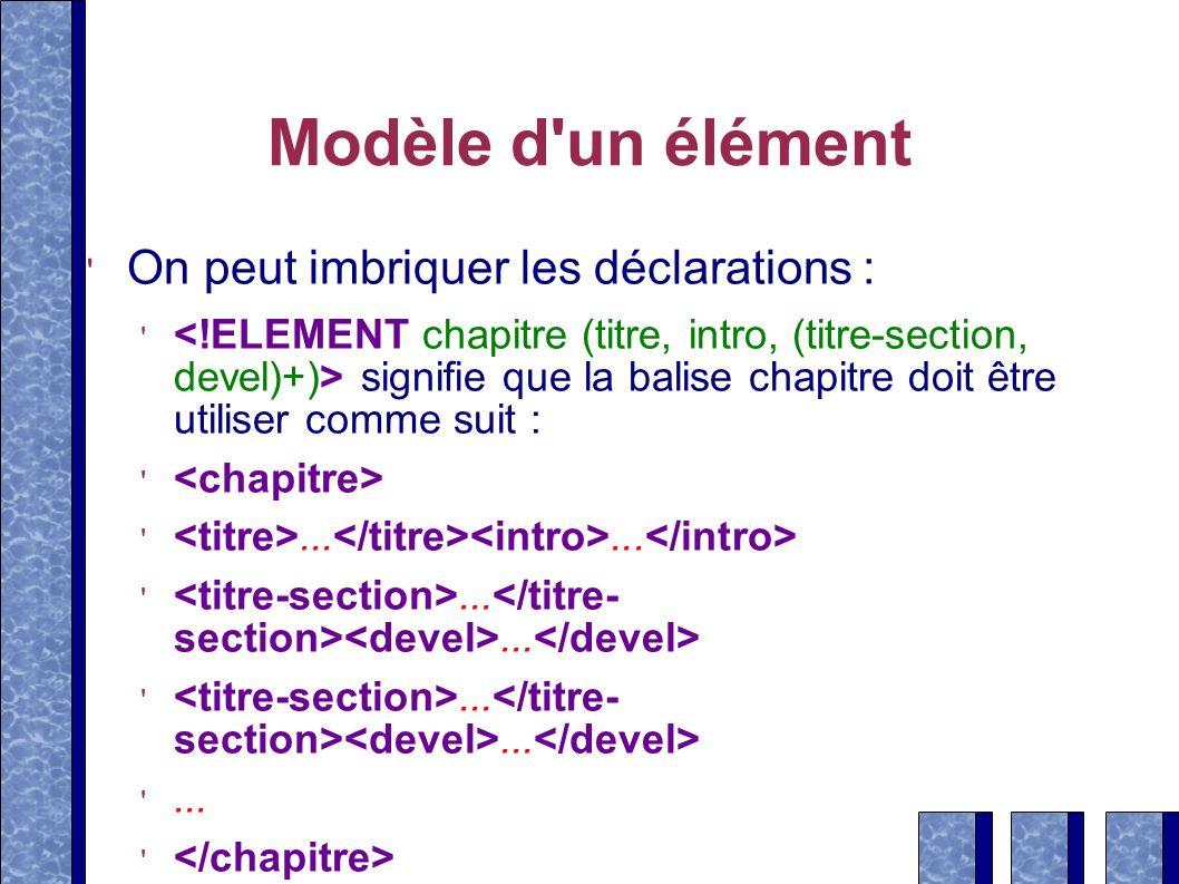 Modèle d'un élément On peut imbriquer les déclarations : signifie que la balise chapitre doit être utiliser comme suit :.........