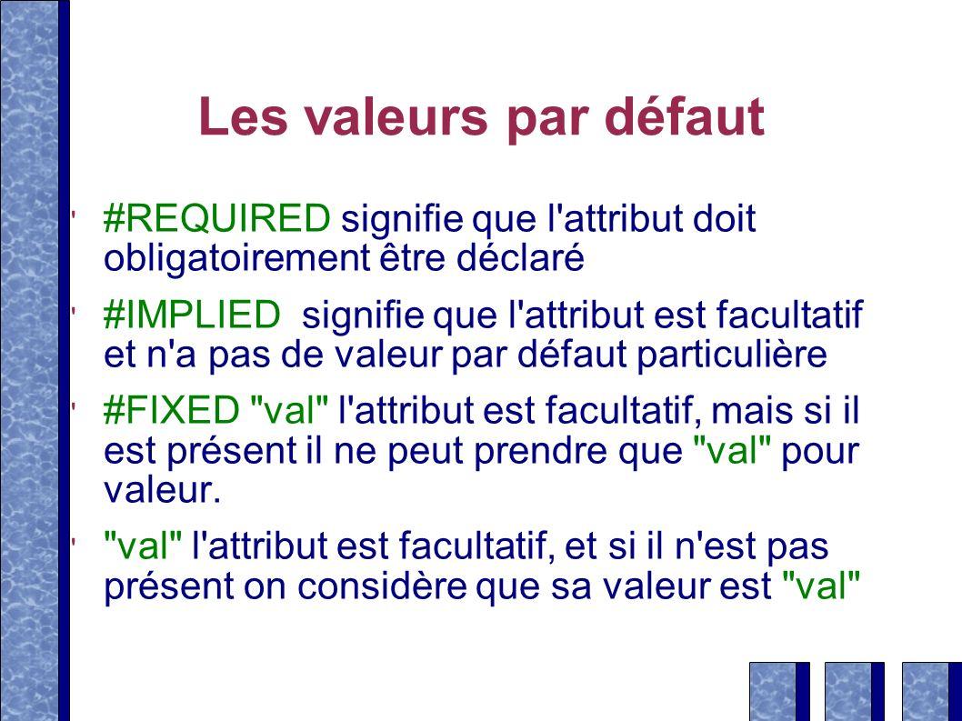 Les valeurs par défaut #REQUIRED signifie que l'attribut doit obligatoirement être déclaré #IMPLIED signifie que l'attribut est facultatif et n'a pas