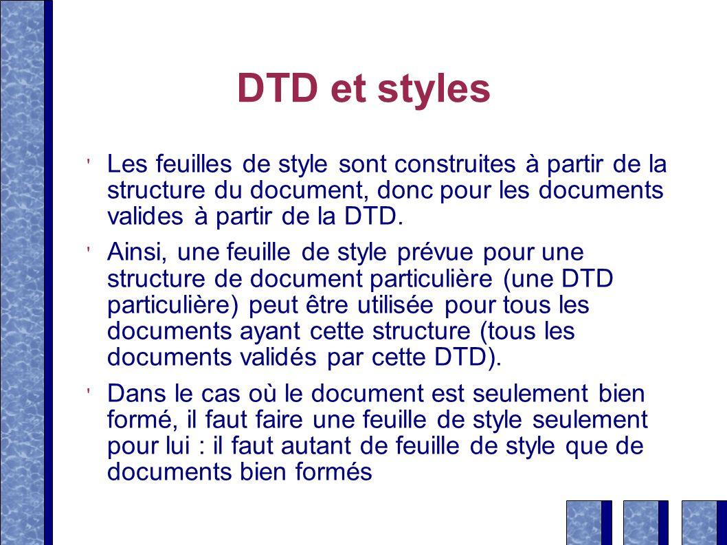 DTD et styles Les feuilles de style sont construites à partir de la structure du document, donc pour les documents valides à partir de la DTD. Ainsi,