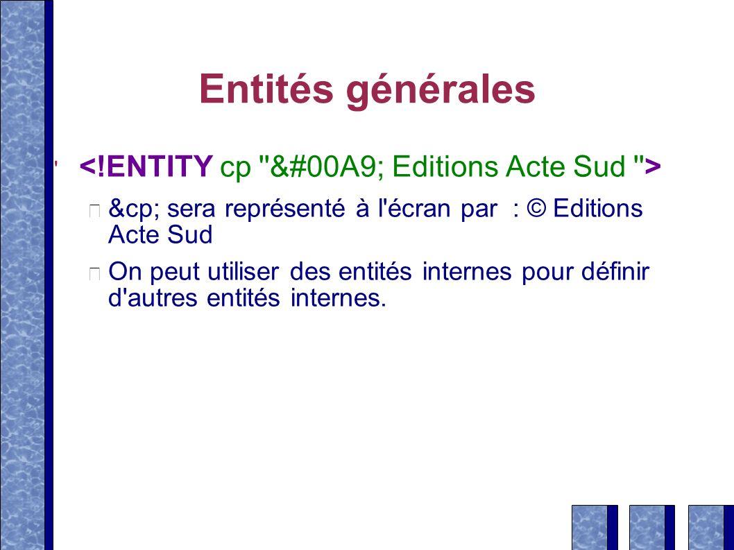 Entités générales &cp; sera représenté à l'écran par : © Editions Acte Sud On peut utiliser des entités internes pour définir d'autres entités interne