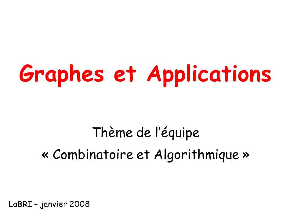 Graphes et Applications Thème de léquipe « Combinatoire et Algorithmique » LaBRI – janvier 2008