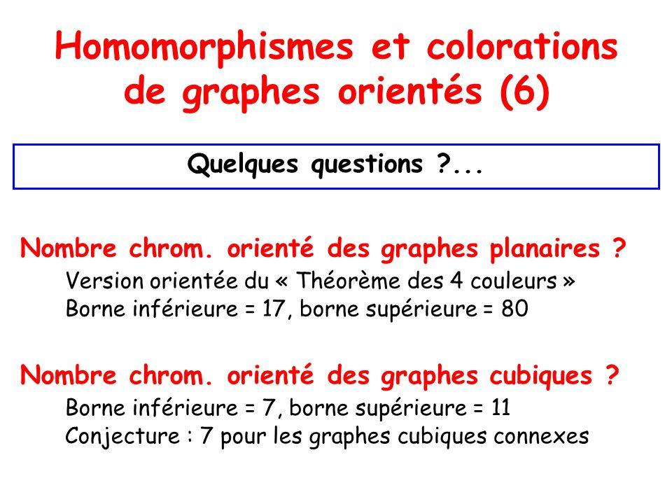 Homomorphismes et colorations de graphes orientés (6) Quelques questions ...