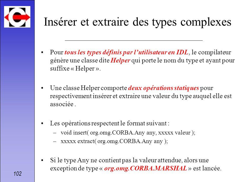 102 Insérer et extraire des types complexes Pour tous les types définis par lutilisateur en IDL, le compilateur génère une classe dite Helper qui port
