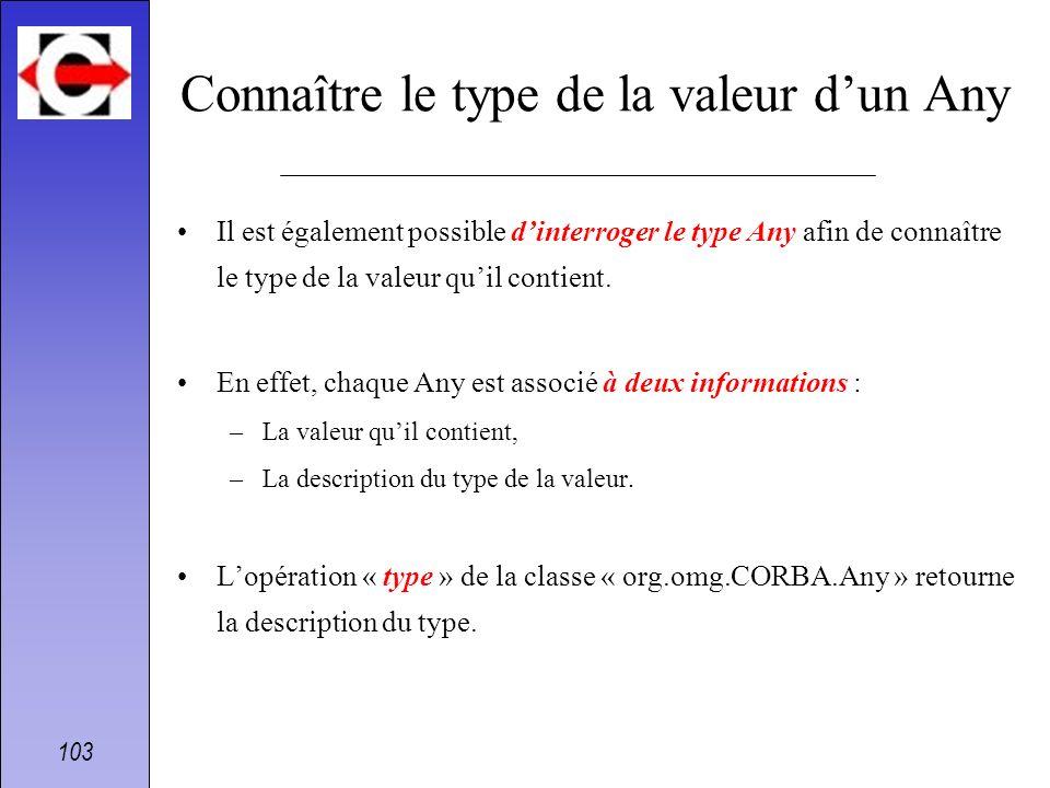 103 Connaître le type de la valeur dun Any Il est également possible dinterroger le type Any afin de connaître le type de la valeur quil contient. En