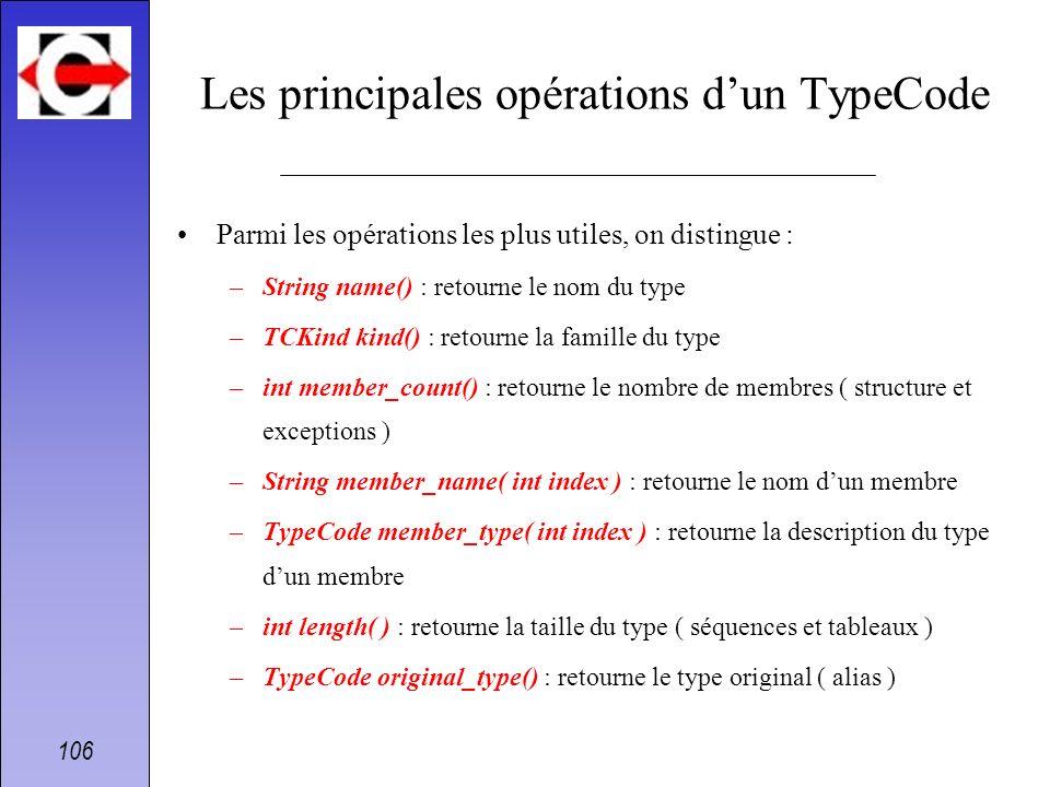106 Les principales opérations dun TypeCode Parmi les opérations les plus utiles, on distingue : –String name() : retourne le nom du type –TCKind kind