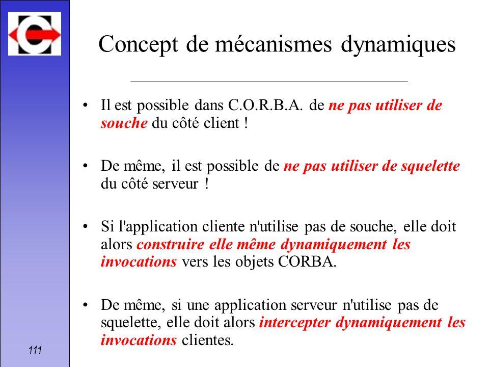 111 Concept de mécanismes dynamiques Il est possible dans C.O.R.B.A. de ne pas utiliser de souche du côté client ! De même, il est possible de ne pas