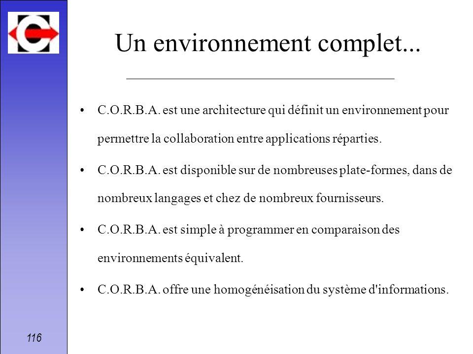 116 Un environnement complet... C.O.R.B.A. est une architecture qui définit un environnement pour permettre la collaboration entre applications répart