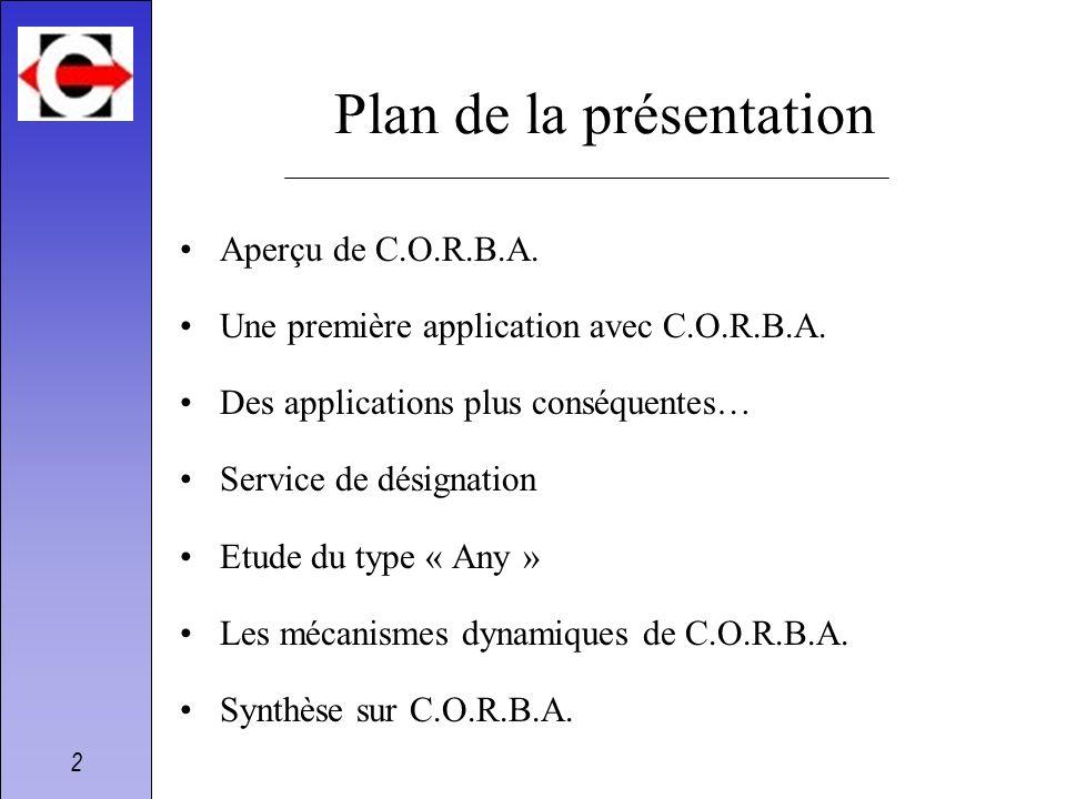 2 Plan de la présentation Aperçu de C.O.R.B.A. Une première application avec C.O.R.B.A. Des applications plus conséquentes… Service de désignation Etu