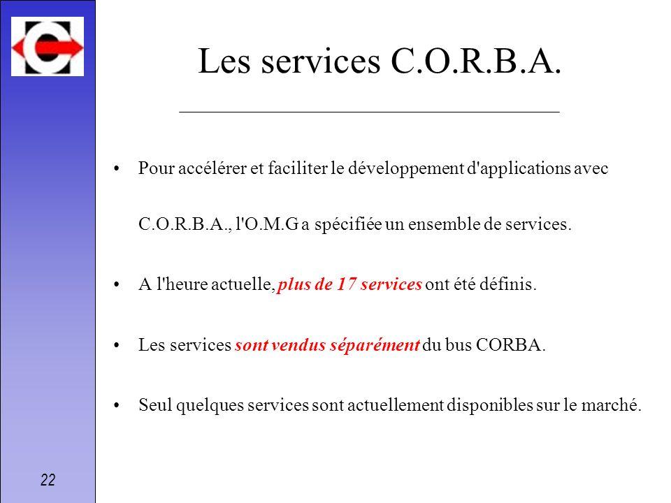 22 Les services C.O.R.B.A. Pour accélérer et faciliter le développement d'applications avec C.O.R.B.A., l'O.M.G a spécifiée un ensemble de services. A