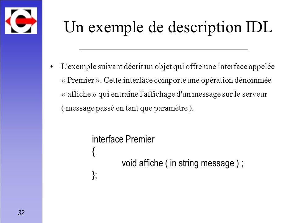 32 Un exemple de description IDL L'exemple suivant décrit un objet qui offre une interface appelée « Premier ». Cette interface comporte une opération