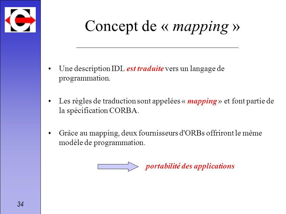 34 Concept de « mapping » Une description IDL est traduite vers un langage de programmation. Les règles de traduction sont appelées « mapping » et fon