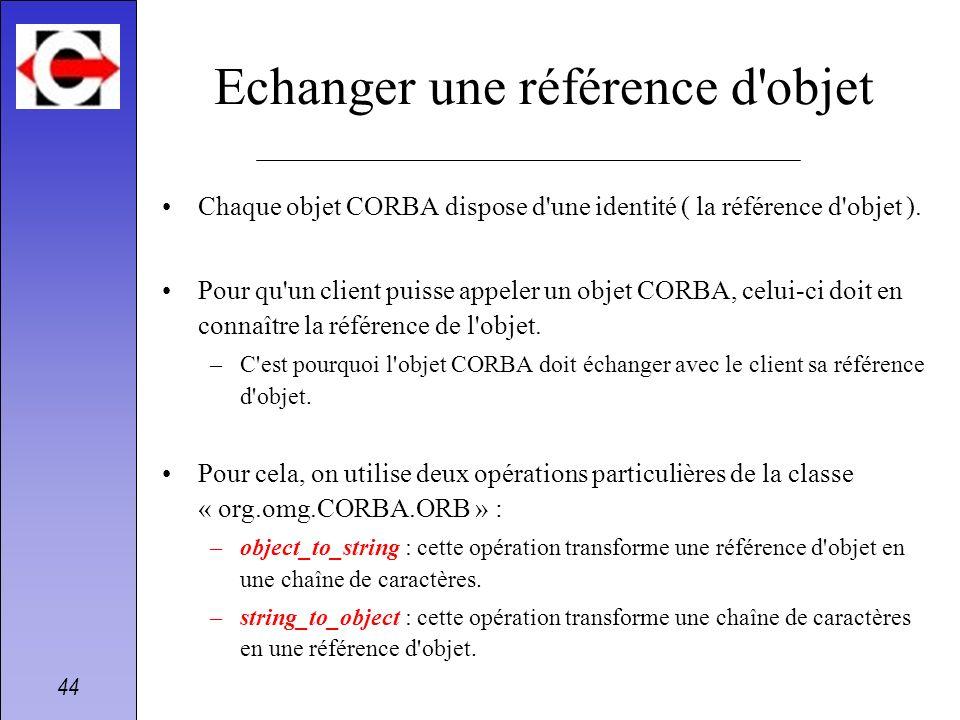 44 Echanger une référence d'objet Chaque objet CORBA dispose d'une identité ( la référence d'objet ). Pour qu'un client puisse appeler un objet CORBA,