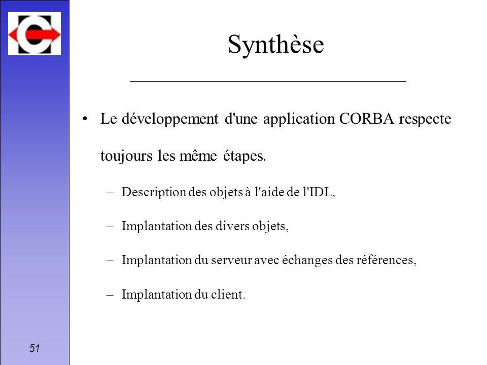 51 Synthèse Le développement d'une application CORBA respecte toujours les même étapes. –Description des objets à l'aide de l'IDL, –Implantation des d