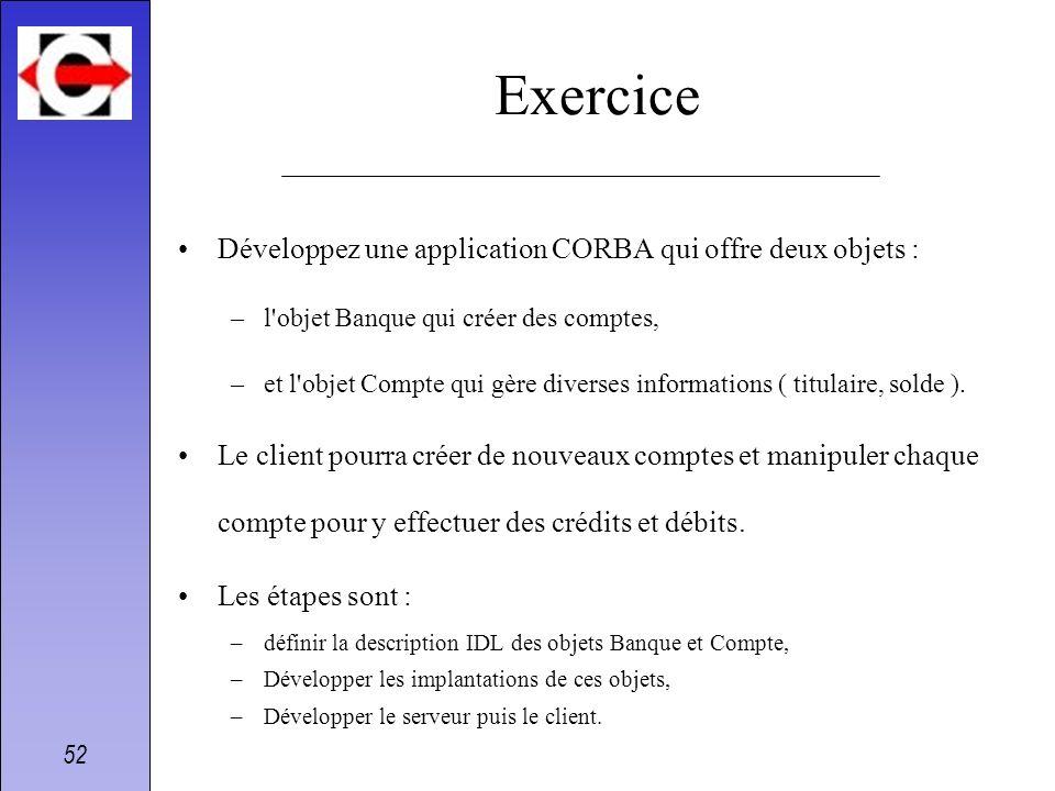 52 Exercice Développez une application CORBA qui offre deux objets : –l'objet Banque qui créer des comptes, –et l'objet Compte qui gère diverses infor