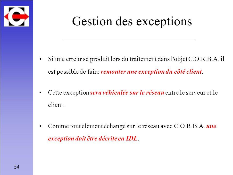 54 Gestion des exceptions Si une erreur se produit lors du traitement dans l'objet C.O.R.B.A. il est possible de faire remonter une exception du côté