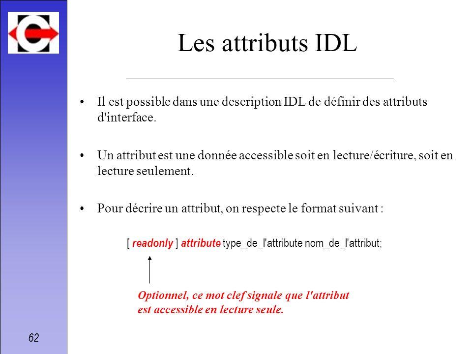 62 Les attributs IDL Il est possible dans une description IDL de définir des attributs d'interface. Un attribut est une donnée accessible soit en lect