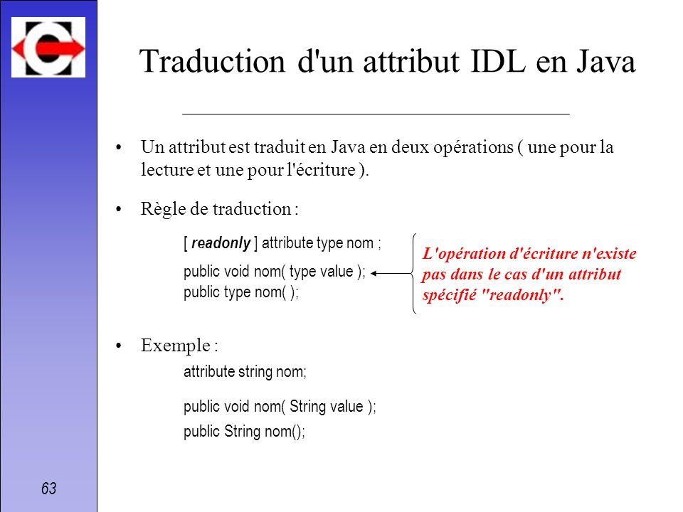 63 Traduction d'un attribut IDL en Java Un attribut est traduit en Java en deux opérations ( une pour la lecture et une pour l'écriture ). Règle de tr