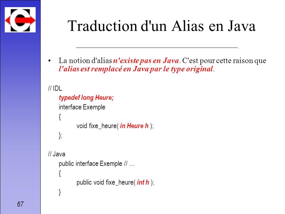 67 Traduction d'un Alias en Java La notion d'alias n'existe pas en Java. C'est pour cette raison que l'alias est remplacé en Java par le type original