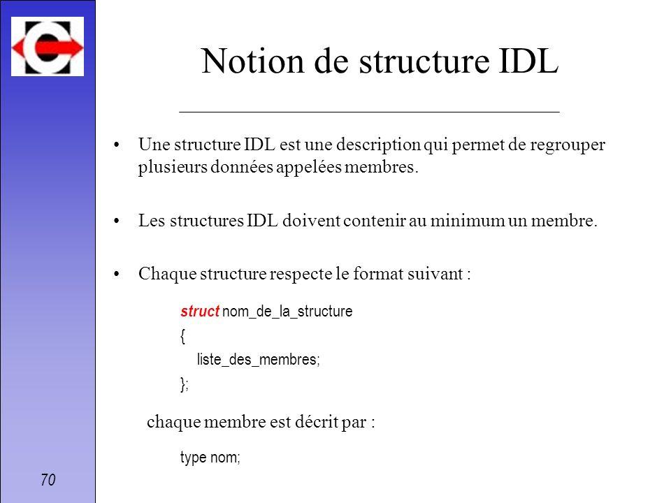 70 Notion de structure IDL Une structure IDL est une description qui permet de regrouper plusieurs données appelées membres. Les structures IDL doiven