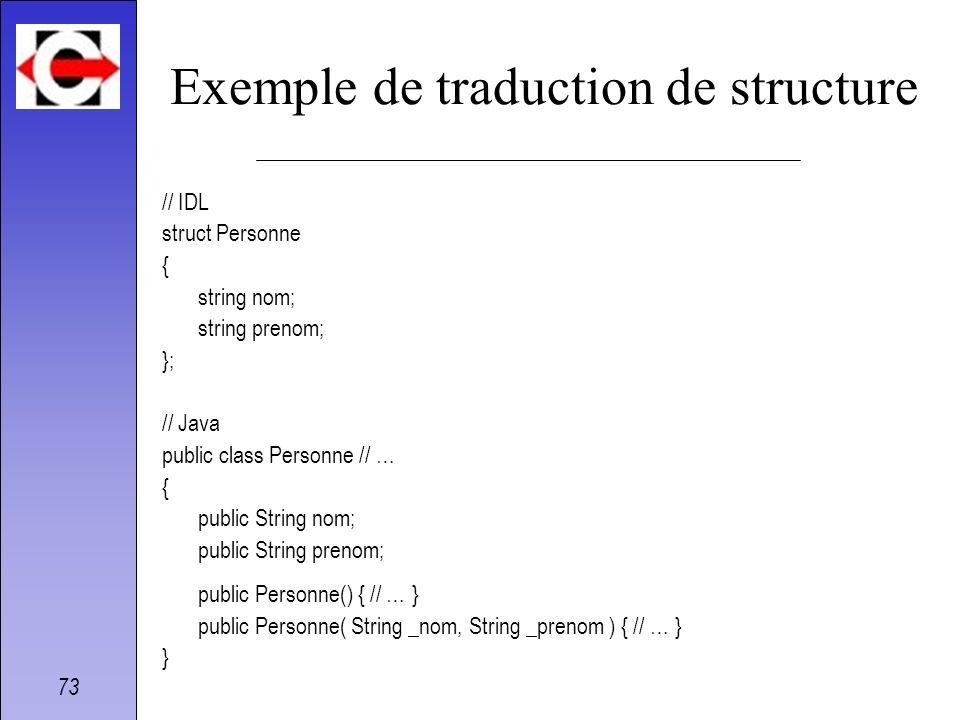 73 Exemple de traduction de structure // IDL struct Personne { string nom; string prenom; }; // Java public class Personne // … { public String nom; p