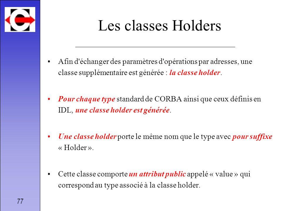 77 Les classes Holders Afin d'échanger des paramètres d'opérations par adresses, une classe supplémentaire est générée : la classe holder. Pour chaque