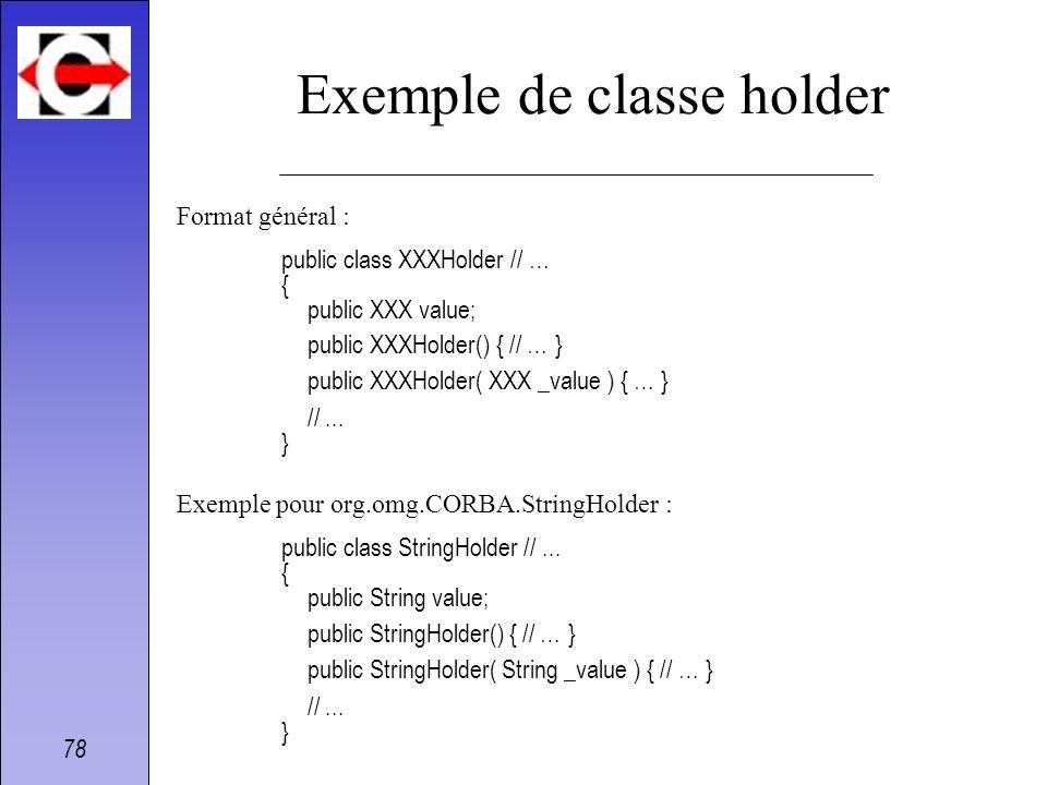 78 Exemple de classe holder Format général : public class XXXHolder // … { public XXX value; public XXXHolder() { // … } public XXXHolder( XXX _value