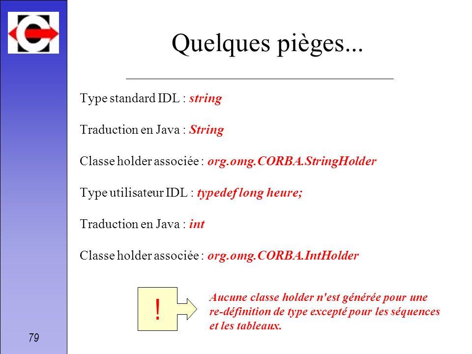 79 Quelques pièges... Type standard IDL : string Traduction en Java : String Classe holder associée : org.omg.CORBA.StringHolder Type utilisateur IDL