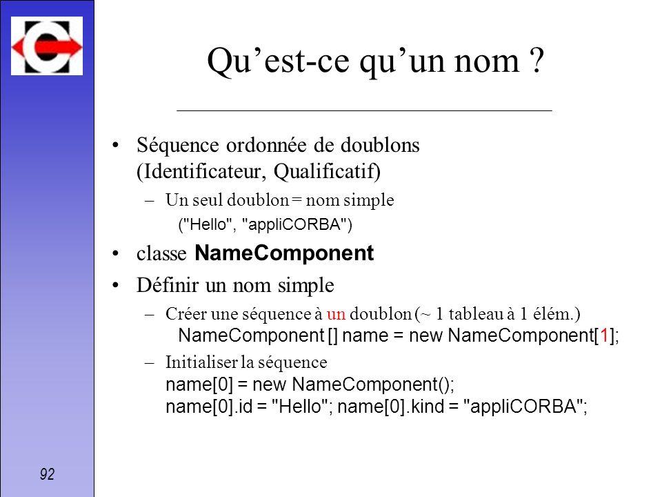 92 Quest-ce quun nom ? Séquence ordonnée de doublons (Identificateur, Qualificatif) –Un seul doublon = nom simple (
