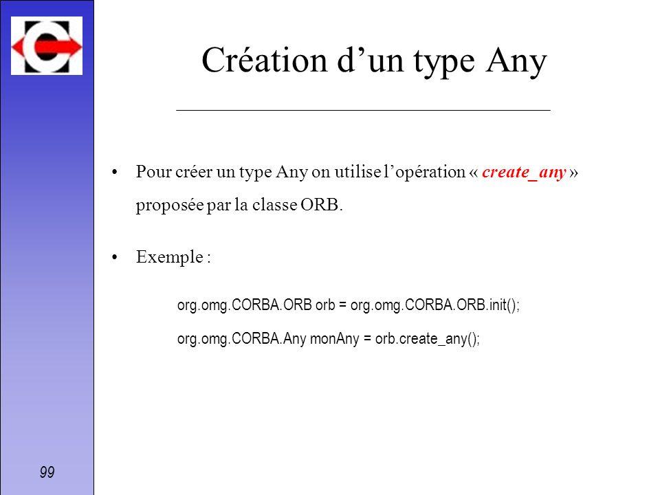 99 Création dun type Any Pour créer un type Any on utilise lopération « create_any » proposée par la classe ORB. Exemple : org.omg.CORBA.ORB orb = org
