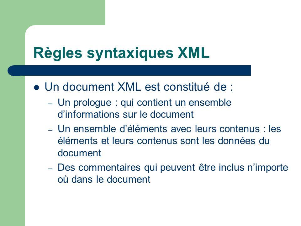 Règles syntaxiques XML Un document XML est constitué de : – Un prologue : qui contient un ensemble dinformations sur le document – Un ensemble déléments avec leurs contenus : les éléments et leurs contenus sont les données du document – Des commentaires qui peuvent être inclus nimporte où dans le document