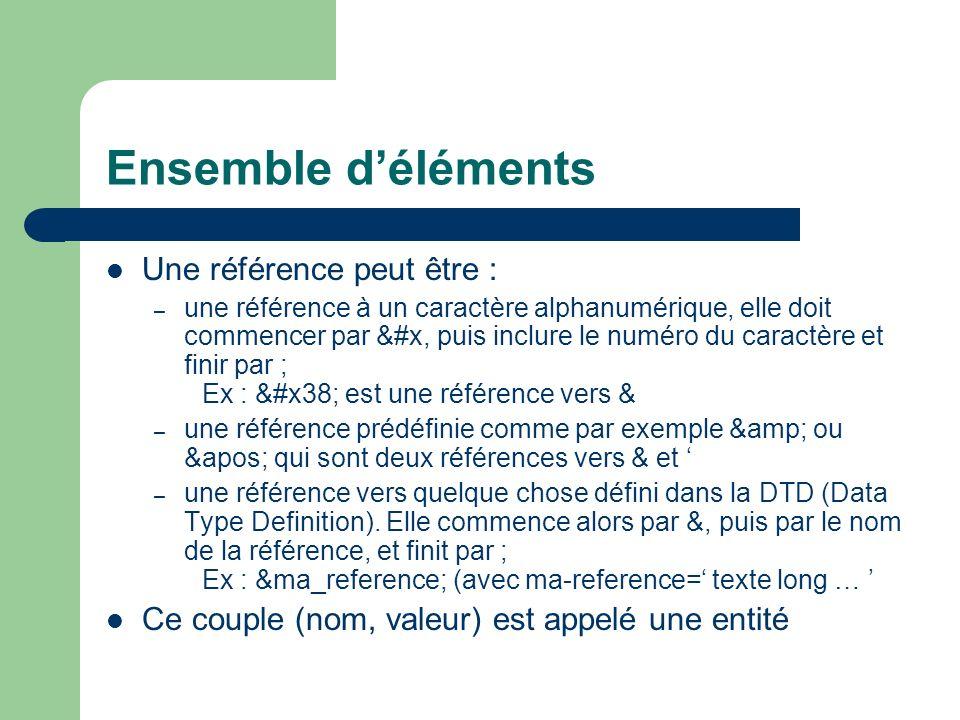 Ensemble déléments Une référence peut être : – une référence à un caractère alphanumérique, elle doit commencer par &#x, puis inclure le numéro du caractère et finir par ; Ex : 8 est une référence vers & – une référence prédéfinie comme par exemple & ou ' qui sont deux références vers & et – une référence vers quelque chose défini dans la DTD (Data Type Definition).