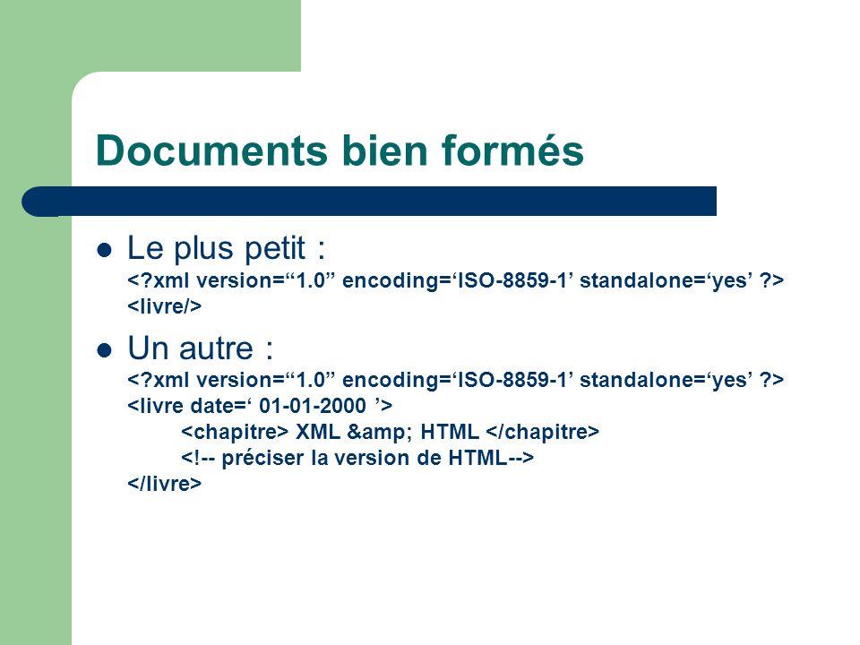 Documents bien formés Le plus petit : Un autre : XML & HTML
