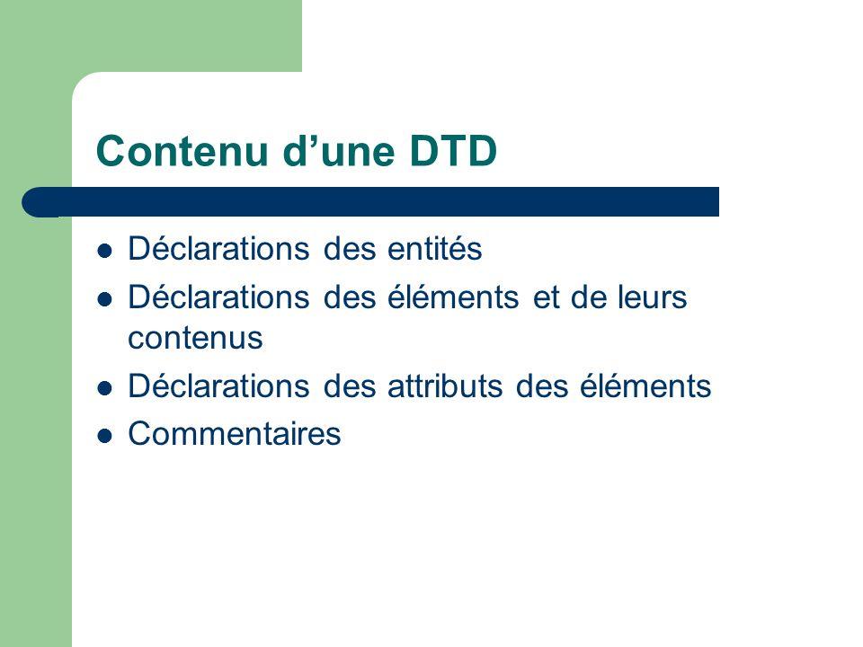 Contenu dune DTD Déclarations des entités Déclarations des éléments et de leurs contenus Déclarations des attributs des éléments Commentaires