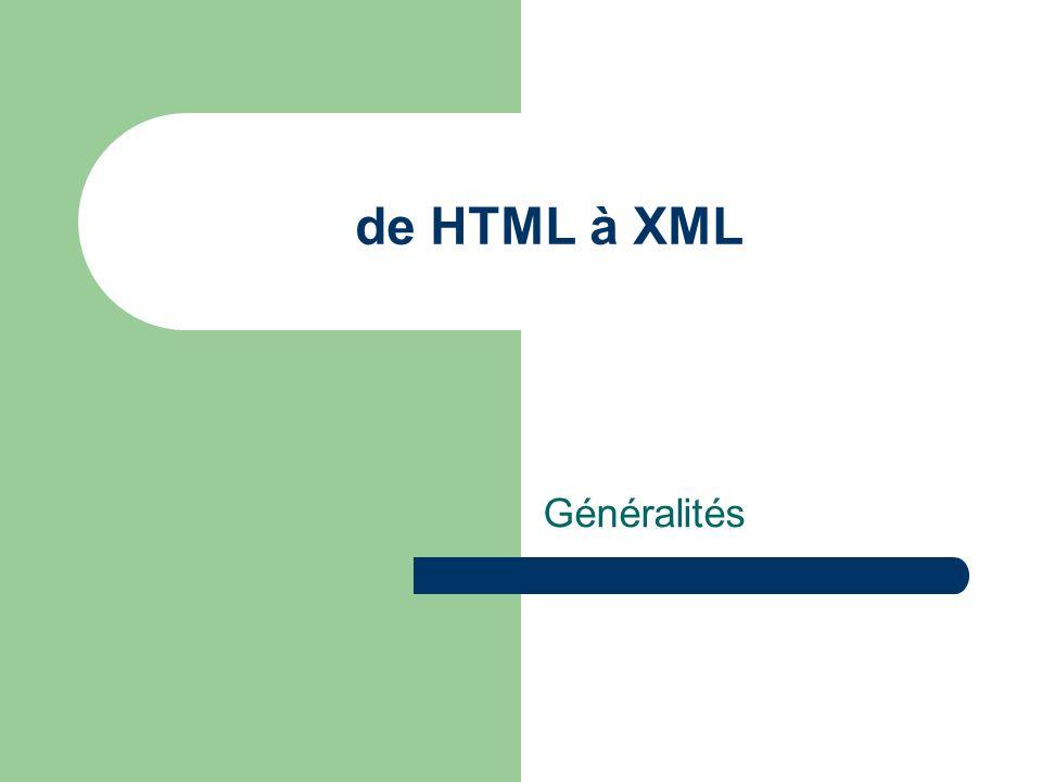 Document Type Definition En XML, un type de document représente une structure (une grammaire) Ex : le type livre précise quun livre est composé de chapitres, qui sont composés de parties … Un type de document est défini dans une DTD (Document Type Definition) Une DTD peut être inclue ou référencée par un document XML