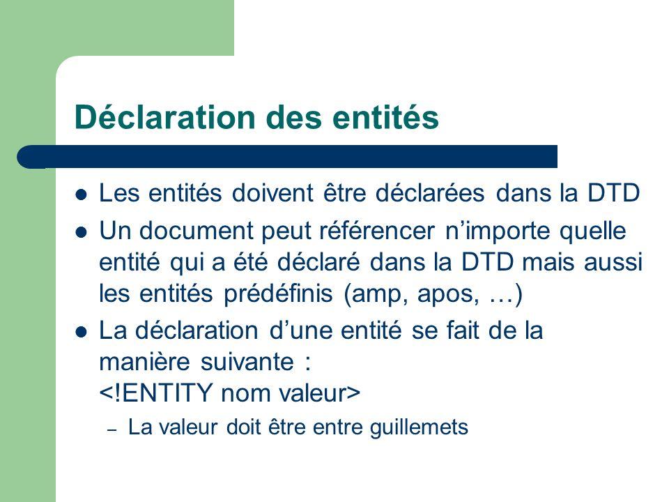 Déclaration des entités Les entités doivent être déclarées dans la DTD Un document peut référencer nimporte quelle entité qui a été déclaré dans la DTD mais aussi les entités prédéfinis (amp, apos, …) La déclaration dune entité se fait de la manière suivante : – La valeur doit être entre guillemets