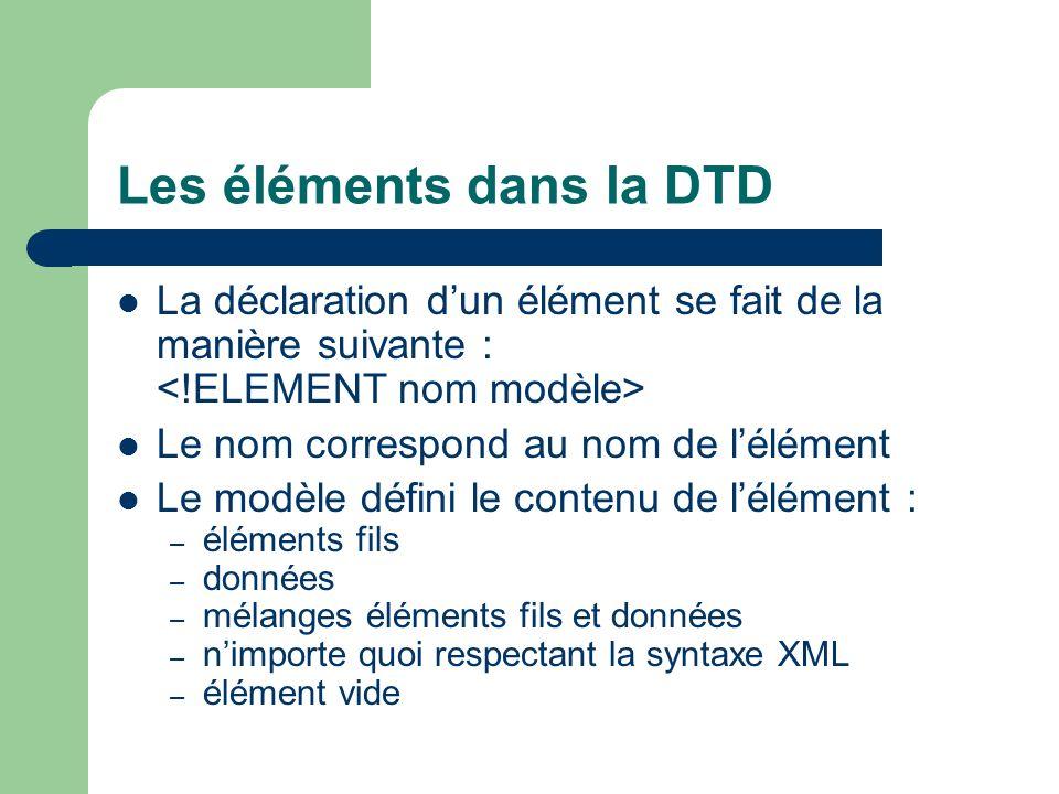 Les éléments dans la DTD La déclaration dun élément se fait de la manière suivante : Le nom correspond au nom de lélément Le modèle défini le contenu de lélément : – éléments fils – données – mélanges éléments fils et données – nimporte quoi respectant la syntaxe XML – élément vide