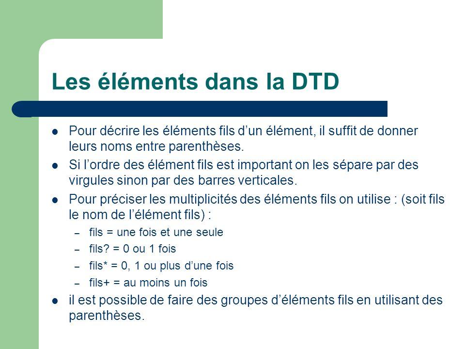 Les éléments dans la DTD Pour décrire les éléments fils dun élément, il suffit de donner leurs noms entre parenthèses.