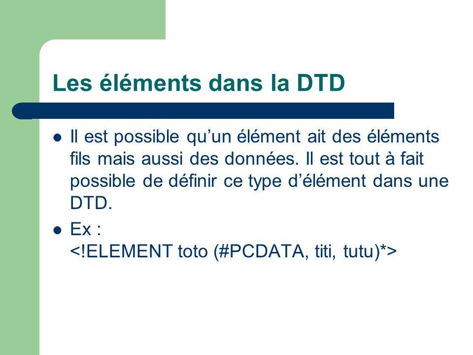 Les éléments dans la DTD Il est possible quun élément ait des éléments fils mais aussi des données.