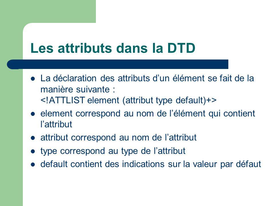 Les attributs dans la DTD La déclaration des attributs dun élément se fait de la manière suivante : element correspond au nom de lélément qui contient lattribut attribut correspond au nom de lattribut type correspond au type de lattribut default contient des indications sur la valeur par défaut