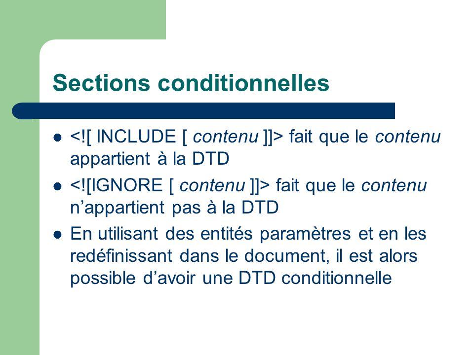 Sections conditionnelles fait que le contenu appartient à la DTD fait que le contenu nappartient pas à la DTD En utilisant des entités paramètres et en les redéfinissant dans le document, il est alors possible davoir une DTD conditionnelle
