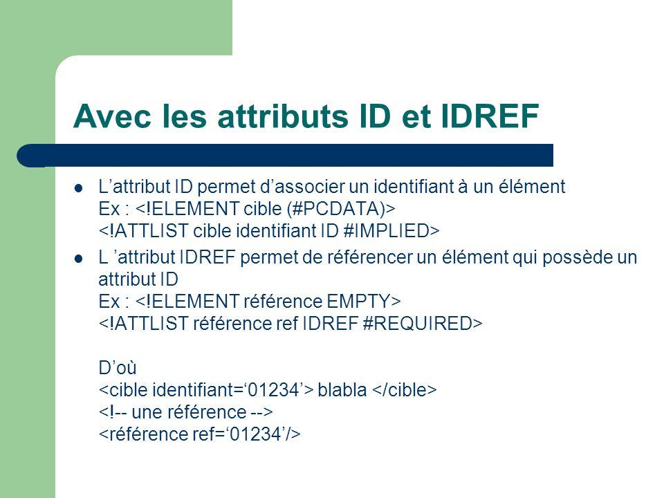 Avec les attributs ID et IDREF Lattribut ID permet dassocier un identifiant à un élément Ex : L attribut IDREF permet de référencer un élément qui possède un attribut ID Ex : Doù blabla