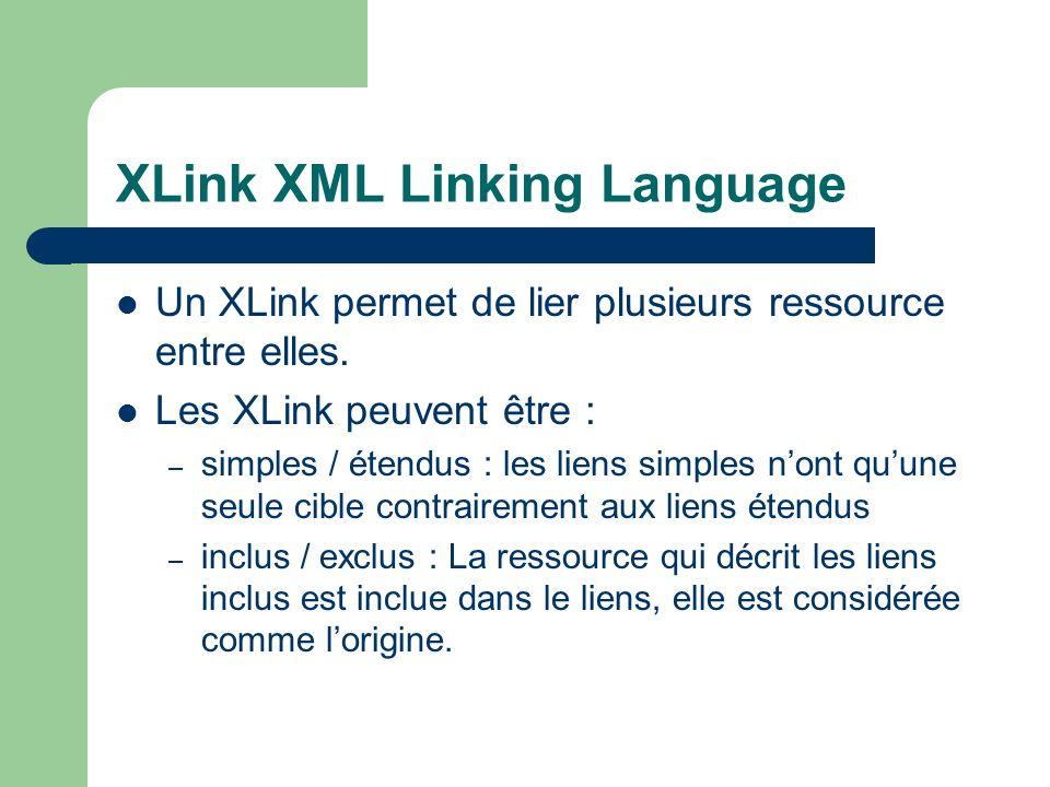 XLink XML Linking Language Un XLink permet de lier plusieurs ressource entre elles.