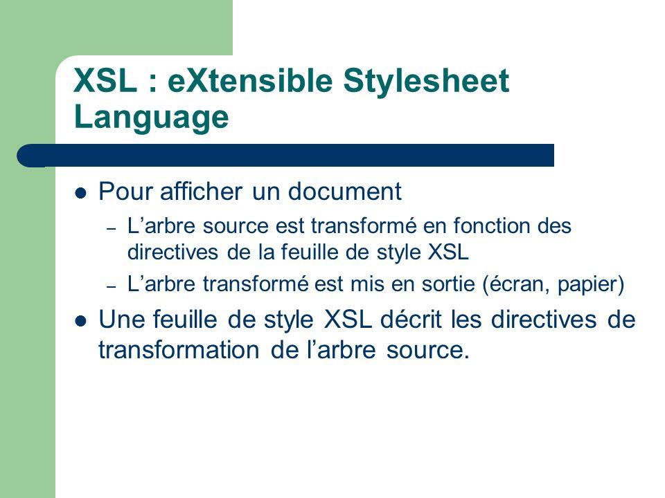 XSL : eXtensible Stylesheet Language Pour afficher un document – Larbre source est transformé en fonction des directives de la feuille de style XSL – Larbre transformé est mis en sortie (écran, papier) Une feuille de style XSL décrit les directives de transformation de larbre source.