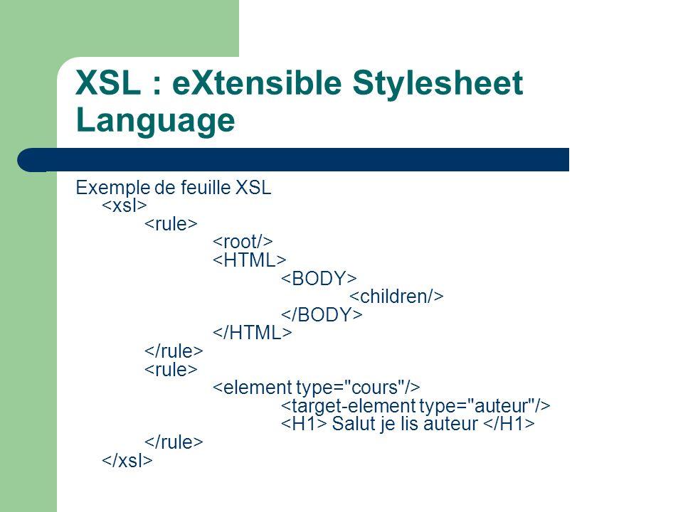 XSL : eXtensible Stylesheet Language Exemple de feuille XSL Salut je lis auteur