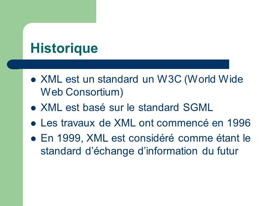 Historique XML est un standard un W3C (World Wide Web Consortium) XML est basé sur le standard SGML Les travaux de XML ont commencé en 1996 En 1999, XML est considéré comme étant le standard déchange dinformation du futur