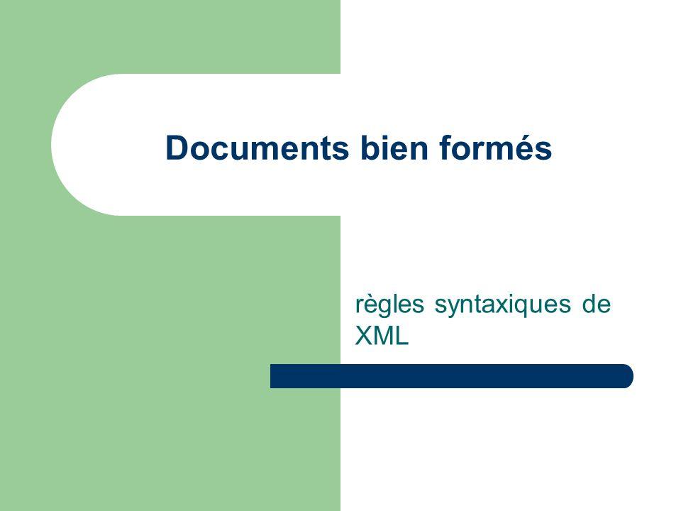 Un document XML bien formé Exemple de document XML : le super livre 1 titre du chapitre 1 blabla blabla …
