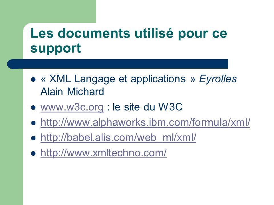 Les documents utilisé pour ce support « XML Langage et applications » Eyrolles Alain Michard www.w3c.org : le site du W3C www.w3c.org http://www.alphaworks.ibm.com/formula/xml/ http://babel.alis.com/web_ml/xml/ http://www.xmltechno.com/