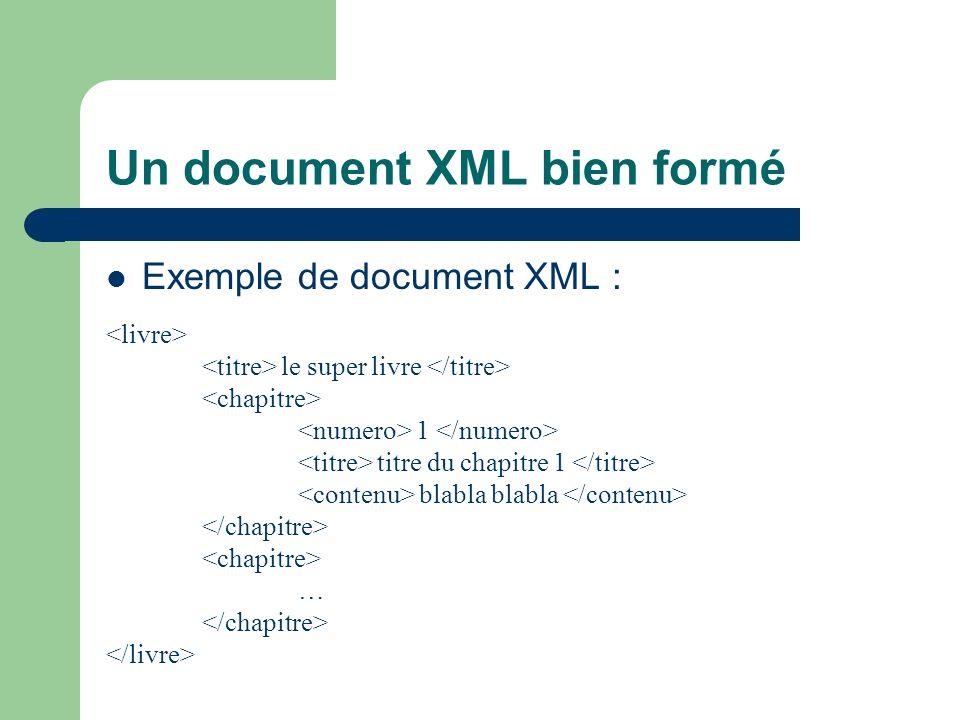 Instructions de traitement Il est possible dinclure des instructions de traitement dans un document XML La déclaration dune instruction de traitement se fait de la facon suivante : nom est le nom de lapplication cible arg1, arg2, … sont les arguments de l application Les noms XML, XmL, … sont réservés