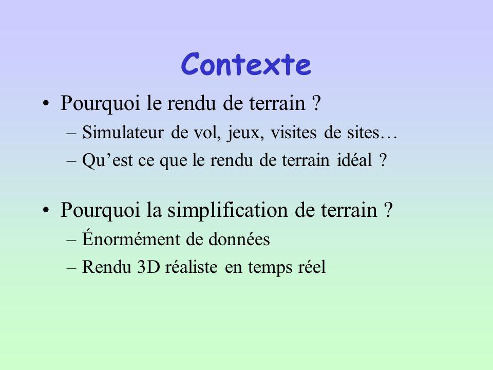 Pour éviter des artefacts visuels, il faut avoir une résolution de texture adaptée De plus cela permet de réduire lespace mémoire occupé Grâce à la structure en quadtree nous avons la possibilité de faire du MipMapping en intégrant une texture avec une résolution adéquate pour le niveau dans lequel elle se trouve Textures Adaptatives